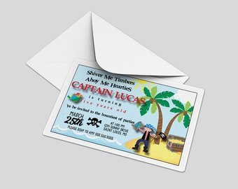 Custom Birthday Party Invitations - Pirate Party, Shiver Me Timbers, Personalized, DIY, Printable