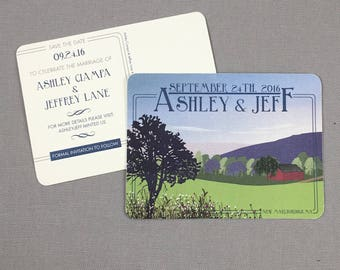 Whimsical Summer Landscape Save the Date Postcards