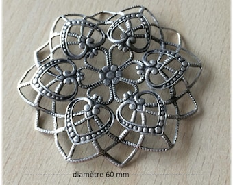 "Connector / pendant ""rosace sifter"" filigree antique silver"
