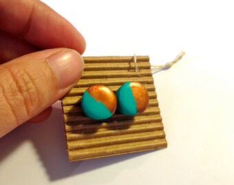 Cute Stud Earrings - Pastels - Wooden Earrings - Faux Plugs - Colorful Prints