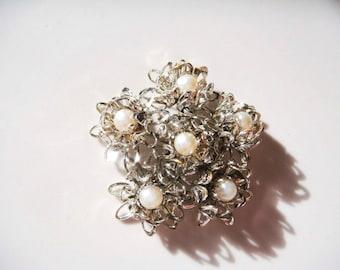 Vintage Silver Pearl Flower Brooch