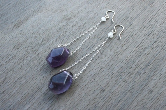 Purple Fluorite, Moonstone and Silver Drop Earrings // Bridesmaid Gift // Gifts for Her // Wedding // Stocking Stuffer