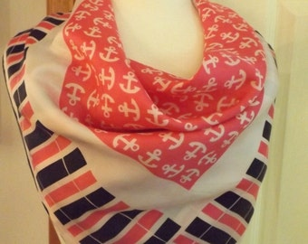 Vintage Nautical Anchor Design Square Scarf, Ladies Scarf, Women's Accessory, Square, Anchors, Retro Fashion, Pink/White/Black