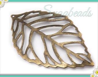 10 Antiqued Brass Leaf Pendants, Filigree Brass Leaves 54mm, PB15