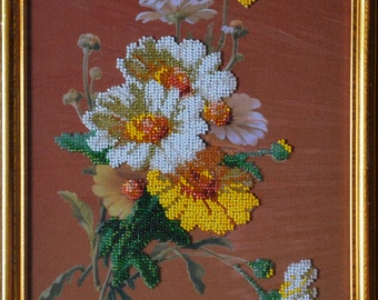 "Bead Embroidery Picture ""Chamomile"""