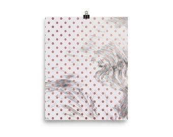 Pink and grey marble dots print