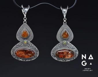 OOAK pendulum weights - garden quartz, amber and opal silver ear weights