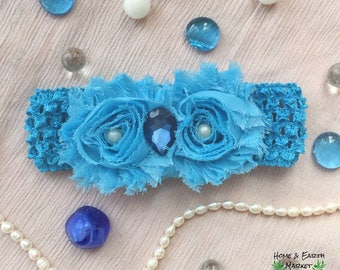 Blue Pearl Flower Headband