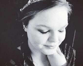 Eowyn Bridal Headband Tiara Wedding Ivy Leaf Circlet Crystal Crown