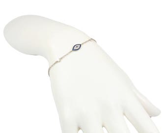 Evil Eye Bracelet Silver Blue Oval Little Turkish Nazar Evil Eye CZ Protection Amulet Charm Christmas Gift for Her