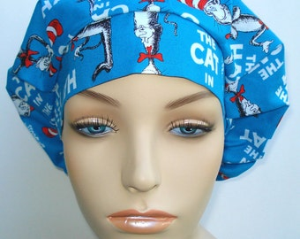 Bouffant Surgical Scrub Hat, Chemo Hat, Cat in the Hat  Blue Dr Seuss Print