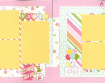 12x12 PARTY GIRL scrapbook page kit, premade scrapbook, 12x12 premade scrapbook page, premade scrapbook pages, 12x12 scrapbook layout