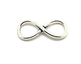 2 medium silver-tone infinity sign charms