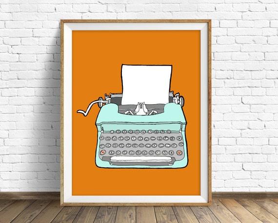 """drawing, vintage typewriter, wall art, art print, orange, large wall art, large art, mid century modern, print - """"Vintage Typewriter No. 4"""""""