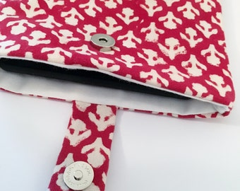 Red Kindle Cover/ eReader Case - Retro pattern/ Floral Print/ Gift for her - Can be customised to fit any tablet/ e-reader