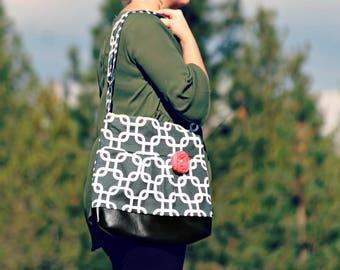 Handbag, Crossbody Purse, Messenger Bag, Medium Faux Leather Bag, Nautical Purse, Charcoal Handbag, Vegan Leather, Pleated Purse, Grey Purse