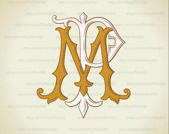 Wedding logo  MP,PM |Vintage Monogram | Wedding Clip Art