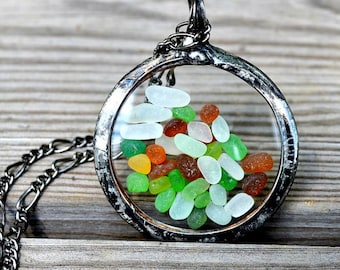Beach Glass Jewelry or Sea Glass Jewelry, Pocket Watch Crystals, Mermaid Tears, Floating Pendant, Real Beach Glass Moves Freely (2397)