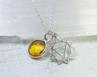 Solar Plexus Chakra necklace. Manipura chakra. Solar Plexus Chakra Manipura pendant. Citrine necklace. Chakra jewelry. Yoga gift.