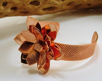Copper Chrysanthemum Flower Bracelet, Copper Flower Bracelet, Copper Jewelry, Copper Flower Cuff, Copper Cuff