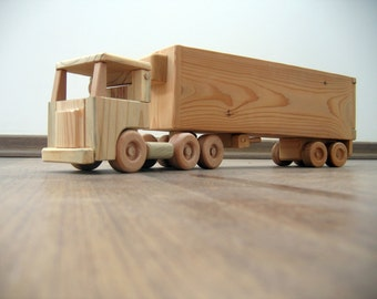 Jeffery the refrigerator wooden toy truck - flat nose cabin with a peg man