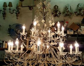 Italian 18 Arm Chandelier With Venetian Murano Glass and Swarovski Crystals