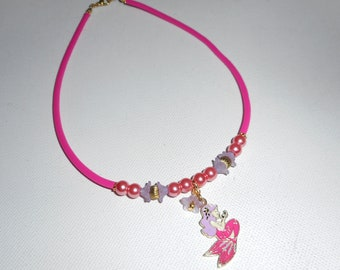 Necklace child Mermaid enamel with pink glass beads and purple flowers on buna cord pink