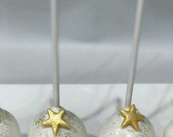 White and Gold Star Cake Pops