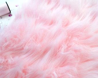 """Baby pink faux fur 2"""" pile, pink craft squares, fursuit fur, cosplay fur, long pile faux fur, pink shag fur, pink faux fur, baby pink fur"""