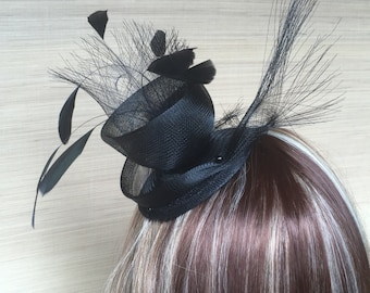 Black Fascinator, Crinoline, Fascinator, Feather hair piece, Cocktail Hat