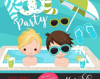 Pool Party Clipart for Boys. Little boys with pool party banner, flip flops, fruit drinks, sunglasses, umbrella and pool summer cliparts