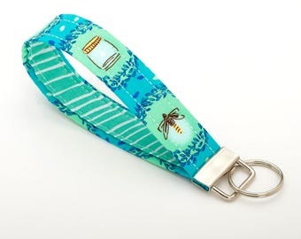 Firefly Keychain, Wristlet Lanyard, Turquoise Key Chain Strap - Teal Firefly / Jar - Accessories for Her