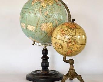 Rare World Globe / Geographic Educator Terrestrial Globe / Solid 6 Inch Alternate Version to Puzzle Globe / Dated 1927