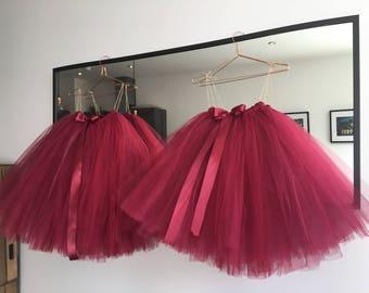 Flower Girl Dress, Tutu, Girls Tutu, Flower Girl Tutu, Bridesmaid Tutu, Burgundy tutu, Maroon Tutu, Cranberry Tutu, Red Tutu, Red Tutu