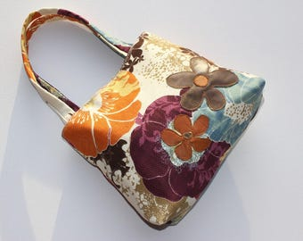 Small Flower Tote with Leather Applique