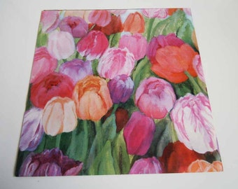 Vintage 1980s Any Occasion Wrapping Paper Pink Purple Green Tulips Floral Gift Wrap