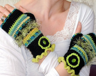 Fingerless gloves crochet wool, handmade