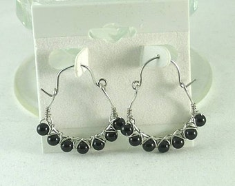 SALE - Wire Wrapped Obsidian Hoops -  Dragon Glass Earrings