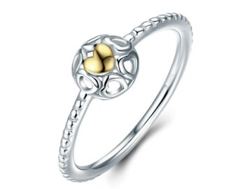 Genuine 925 Sterling Silver Gold & Silver Dainty Heart Ring