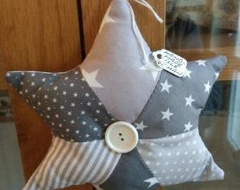 Patchwork Hanging Star, grey/white, handmade