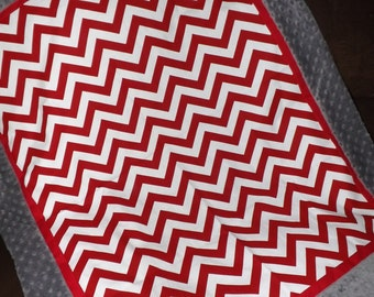 Baby blanket quilt boy gray and red chevron minky dot