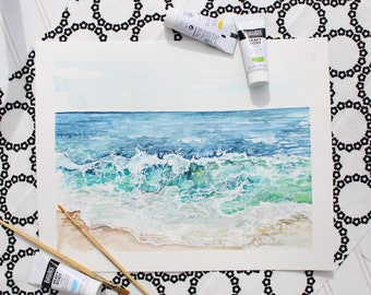 "Beach Therapy - 11'X14"" Original Watercolor and Acrylic Painting"