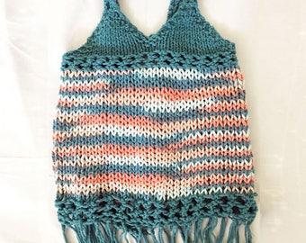 Boho dress - Bohemian dress for kids - knitting pattern - PDF - multisize - 1y - 2y - 3y - 4y - 5y - Aran Tunic Vest Sweater Jumper Pullover