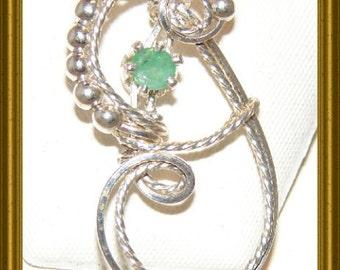 Emerald Sterling Silver Pendant Birthstone