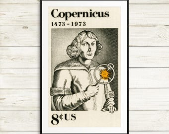 Science classroom wall decor, science history art prints, large vintage astronomy posters, mathematician gift ideas, Nicolaus Copernicus