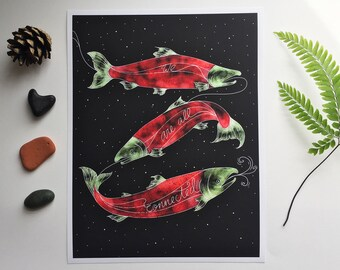 Salmon - Print - 'We are all Connected' - Salmon Art - PNW - Westcoast Art - Fish Art - Sockeye