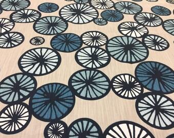 Scandinavian Swedish fabric, Cotton fabric beige with light blue and blue circles, Scandinavian design, modern style