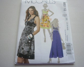 Pattern Women Dress 3 Styles Sizes 14 to 20 McCalls 6110 A
