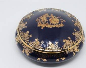 Limoges France Porcelain Large Round Trinket Box Cobalt Blue 22k Gold