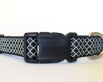 Black and White Quartrefoil Dog Collar - Adjustable, quarterfoil, regal